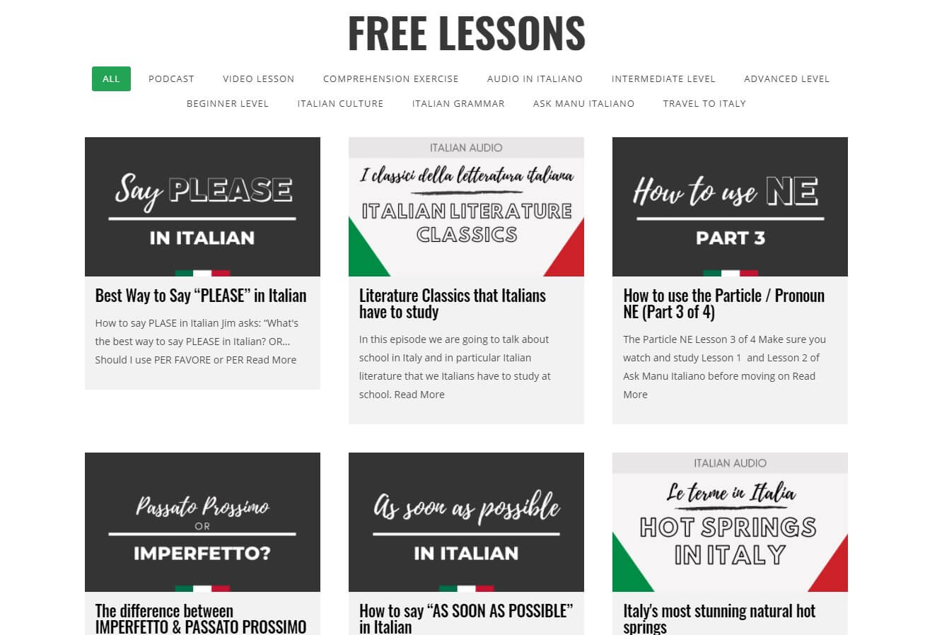 Italy Made Easy - FREE LESSONS